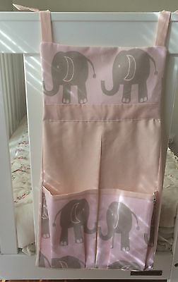 Baby Nappy/ Diaper Stacker - Elephants on Pink