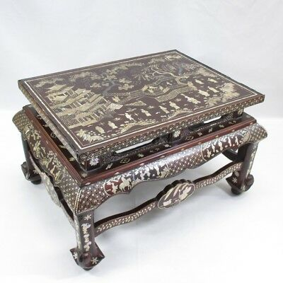 A049: Chinese old lacquer ware decorative stand with mother-of-pearl work