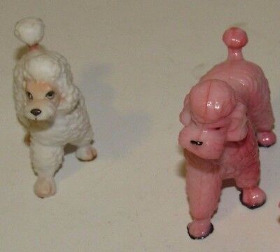 Lot of 2 Ceramic Poodles Pink and White