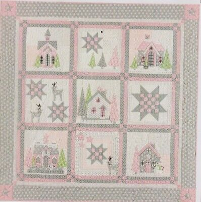 Glitter Houses - pretty pieced & applique Christmas quilt PATTERN - Bunny Hill
