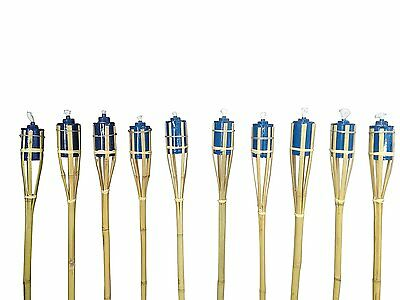 "SET OF 12 Bamboo Tiki Torches Bamboo Covers 48"" ( Includes Oil Canisters ) blue"