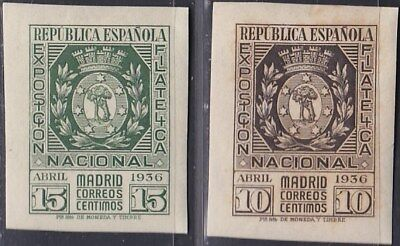 1936. *Edifil: 727/28. EXPOSICION FILATELICA DE MADRID. P. Cat: 140 €