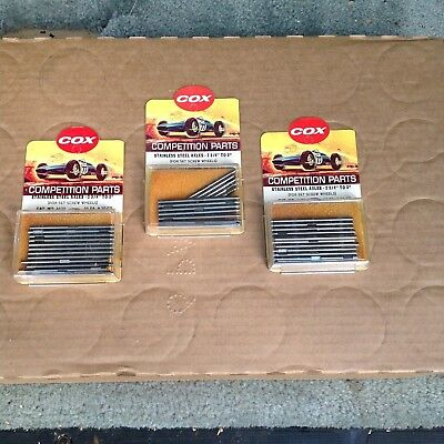 Vintage 3 Piece Cox Slot Car Parts Group / Stainless Steel Axles / #4670 / Nos!!