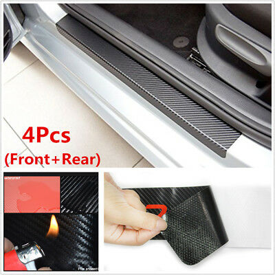 4Pc Black 3D Carbon Fiber Look Car Door Plate Door Sill Scuff Cover Anti Scratch