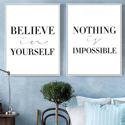 Motivational Quote Picture Modern Nordic Home Wall Decor Canvas Painting Bling