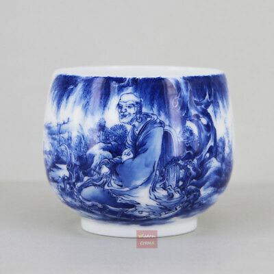 Hand painted Luohan Chinese Blue and White Porcelain Tea Cup Handmade 180cc A