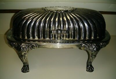 VICTORIAN F.B. ROGERS LION LEGS SILVERPLATE ROLL TOP BUTTER DISH Thanksgiving