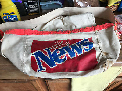 Vintage Newspaper Bag Delivery The Detroit News Newsboy Carrier Canvas