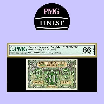 TUNISIA  P#22s  1948 20 FRANCS  SPECIMEN PMG UNC 66 ** 1 OF ONLY 2 GRADED **