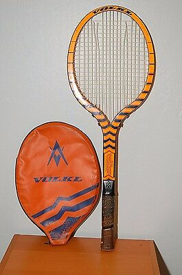 RARE 1973 Vintage Original Volkl Tennis Zebra Racket German Writing 4 1/2
