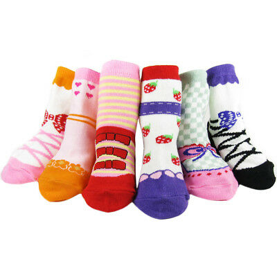 KF Baby Non-Skid Girl Shoe Socks 6 Pairs 12 24 Months Winter Summer Booties Toes