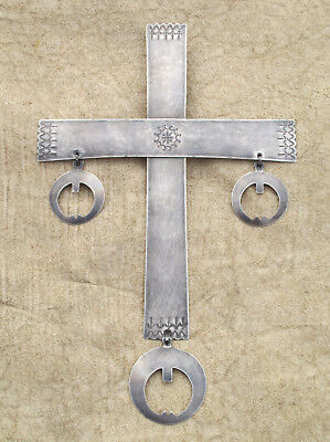 PECTORAL CROSS - engraved, file work.... GERMAN SILVER.... REPRODUCTION