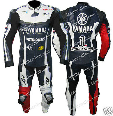 Men Leather Yamaha Motorcycle Racing Rider Biker Full Suit MST-221(US 38/EUR 48)