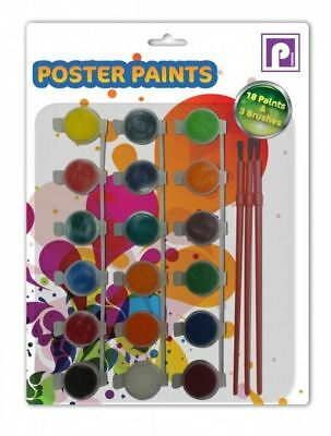 18 Colours Childrens Poster Paints Pots With 3 Brushes Arts & Crafts Stationery