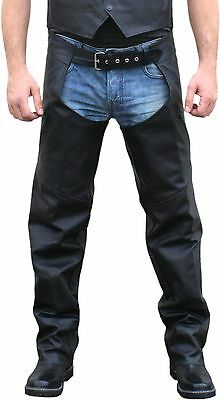 New Men Motorcycle  Leather Chaps Size S - 2Xl