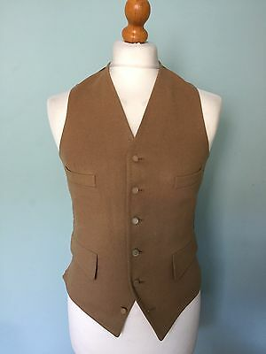 Mens Vintage Wool Country Doe Skin Waistcoat Size 38 Stone Colour