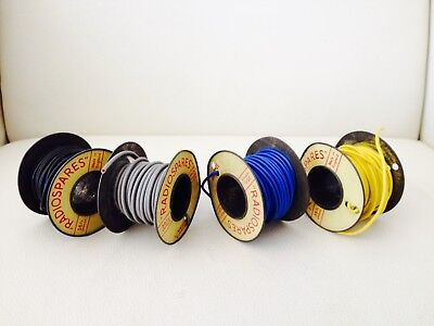 4 Vintage Rolls Of Radiospares Hobby Electrical Wire On Metal Spools Made In Eng