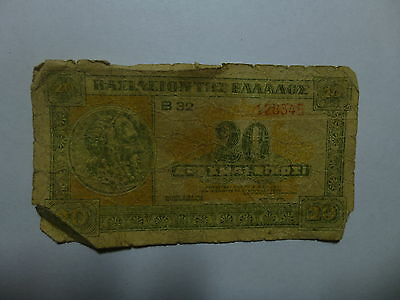 Old Greece Paper Money Currency - #315 1940 20 Drachmai - Well Circulated