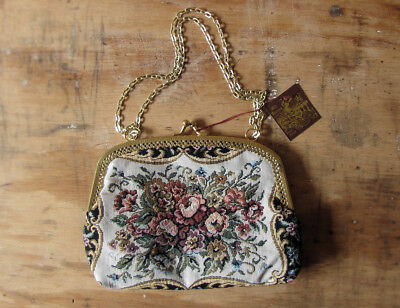 vintage bag - 1970s tapestry purse with gold chain handle and original tag - new