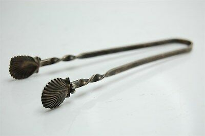 """3-3/4"""" Antique Sterling Silver Sugar Cube Tongs Sea Shell - 7.9g"""