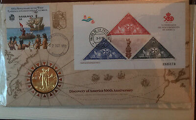 Official Discovery of America 500th Anniversary Coin & Stamp Collector's Set FM