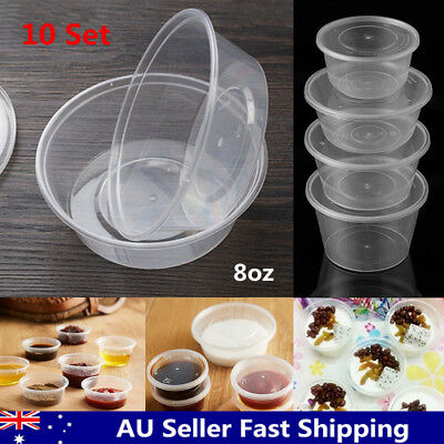8oz 240ml Take Away Round Containers Takeaway Food Soup Plastic Sauce Base + Lid