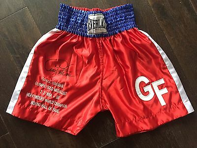 George Foreman Signed Boxing Trunks C.O.A Private Signing London