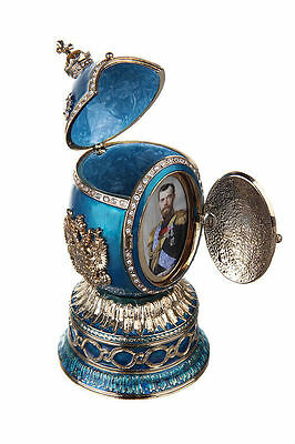 Faberge Egg Music Box St.Isaac's Cathedral Russian Coat of Arms 5.5'' light blue