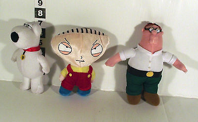 """6"""" Peter Griffin + Brian Dog + Baby Stewie - 3 X Soft Toy Family Guy Tv Series"""