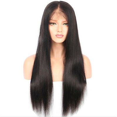 "26"" Women Brazilian Human Hair Wigs Long Straight Lace Front Full Wig Baby Hair"