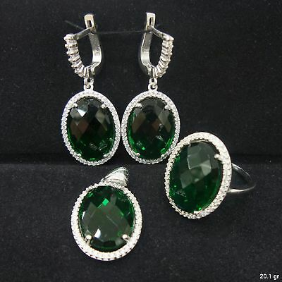 Turkish 925 Sterling Silver Handmade Jewelry Emerald Ladie's Full Set