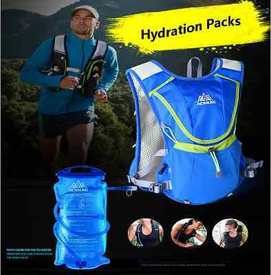 UK Professional Running Race Vest Outdoors Marathoner Hydration BackPack 8L Blue