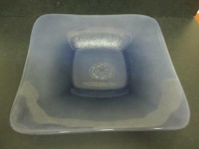 Villa Medici Italy M.madness Blue Frosted Glass Square Platter Boxed