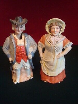 PAIR OF EARLY 20th CENTURY? PORCELAIN MOVING HEAD MAN & WOMEN FIGURES