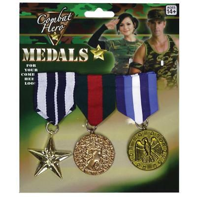 Peeks Pack of 3 Combat Military Army Fancy Dress Costume Outfit Prop War Medals