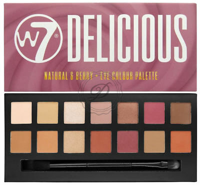 W7 Delicious Eye Shadow Palette - Powder Natural Nude Plum Shimmer Mattes Colour