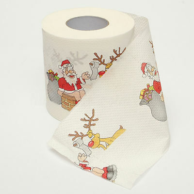 Santa Claus Reindeer Merry Christmas Toilet Paper Tissue Table Room Home Decor