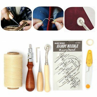 1 Kit (7pcs)  Leather Craft Hand Stitching Sewing Tool Thread Awl Waxed Thimble