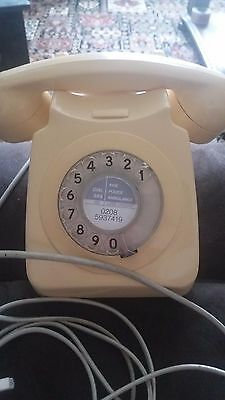 BT GPO Cream 8746G Dial Telephone 1970s Converted Vintage