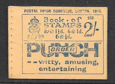 1929 PUC 2/-BOOKLET No 103 COMPLETE ADVERT PAGES NO STAMPS UM