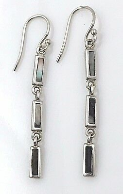 VINTAGE .925 Sterling Silver & Abalone Shell Dangling Panel Earrings, Hook Wires