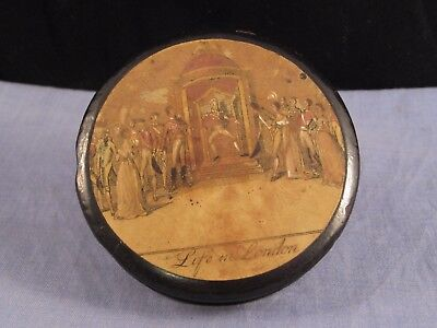 Life In London Papier Mache Dance  Ball Antique Snuff Tobacco Box Cruikshank