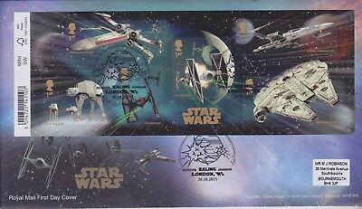 Gb Stamps Mini Sheet First Day Cover 2015 Star Wars Ealing Rare Pmk Collection
