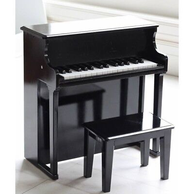 Hip Kids Wooden Piano with Stool Black Musical Instrument Toy Children Toddler