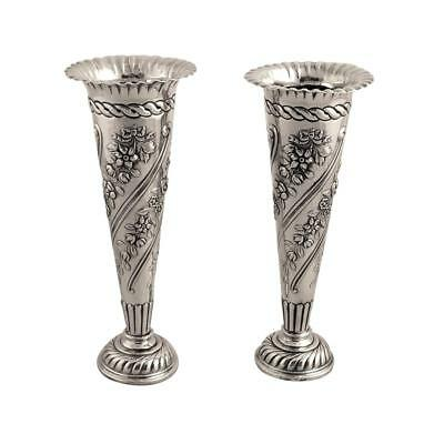 Pair Of Antique Victorian Sterling Silver Vases - 1896