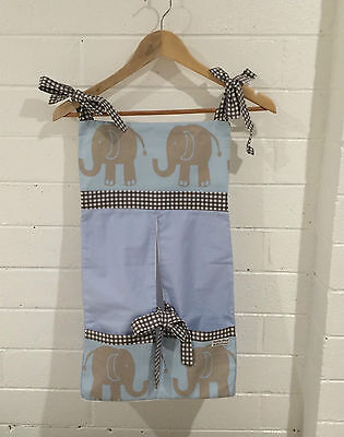 Baby Nappy/ Diaper Stacker - Elephants on Blue