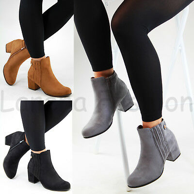 New Womens Ladies Ankle Boots Mid Block Heel Zip Comfy Casual Shoes Sizes 3-8