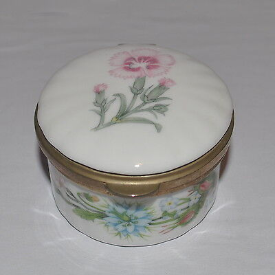 Aynsley -  Round Hinged Trinket Box - English Porcelain China - 'Flowers