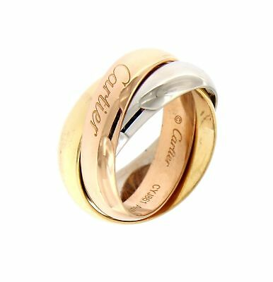 Cartier CARTIER 18K TRI-COLOR GOLD 3 BANDS TRINITY ROLLING RING J755