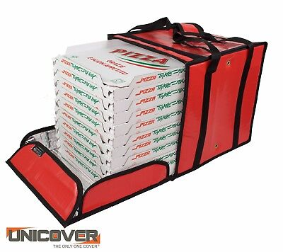 Red Thermal Pizza Delivery Bag for 10 pizza boxes